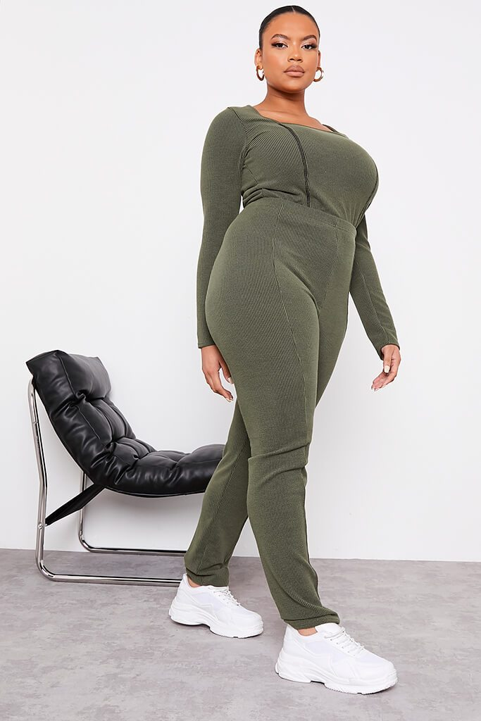 Green Plus Size Contrast Rib Leggings With Stitch Detail view 3
