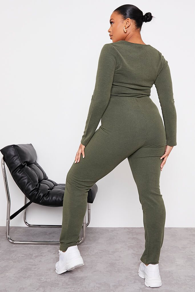 Green Plus Size Contrast Rib Leggings With Stitch Detail view 4