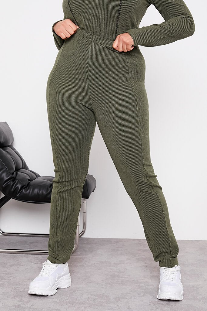 Green Plus Size Contrast Rib Leggings With Stitch Detail view 2