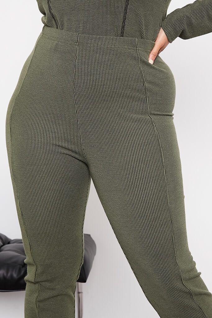 Green Plus Size Contrast Rib Leggings With Stitch Detail view 5