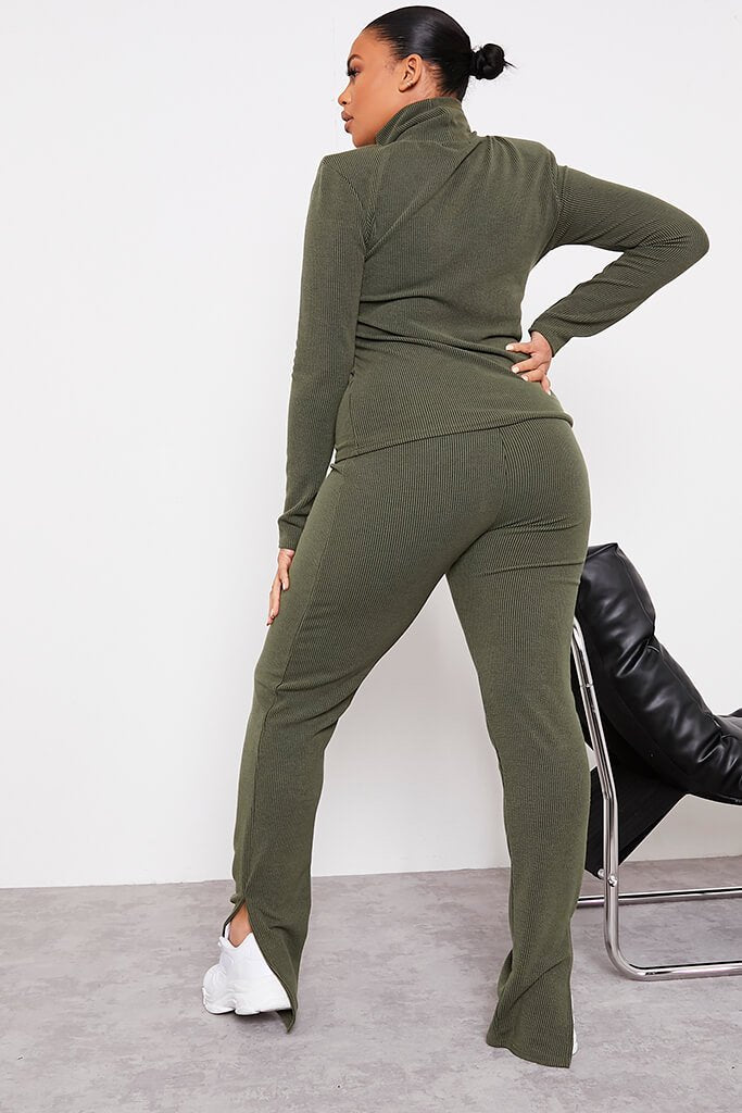 Green Plus Contrast Ribbed Split Hem Leggings view 4