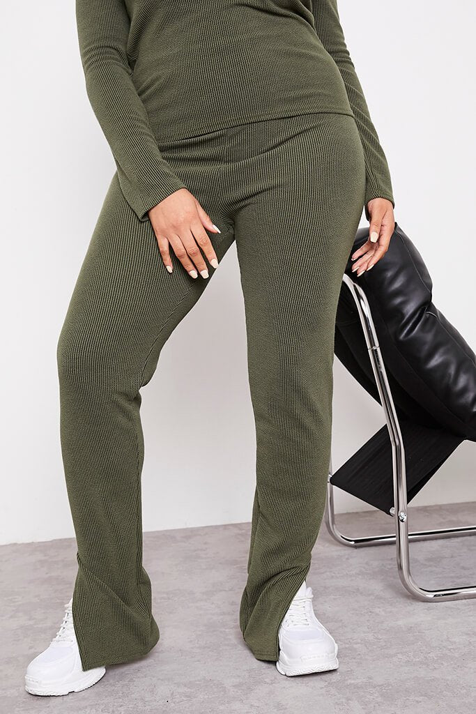 Green Plus Contrast Ribbed Split Hem Leggings view 2