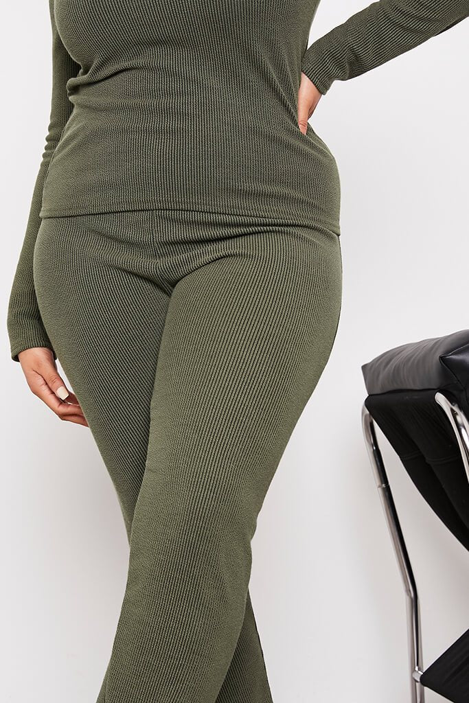 Green Plus Contrast Ribbed Split Hem Leggings view 5