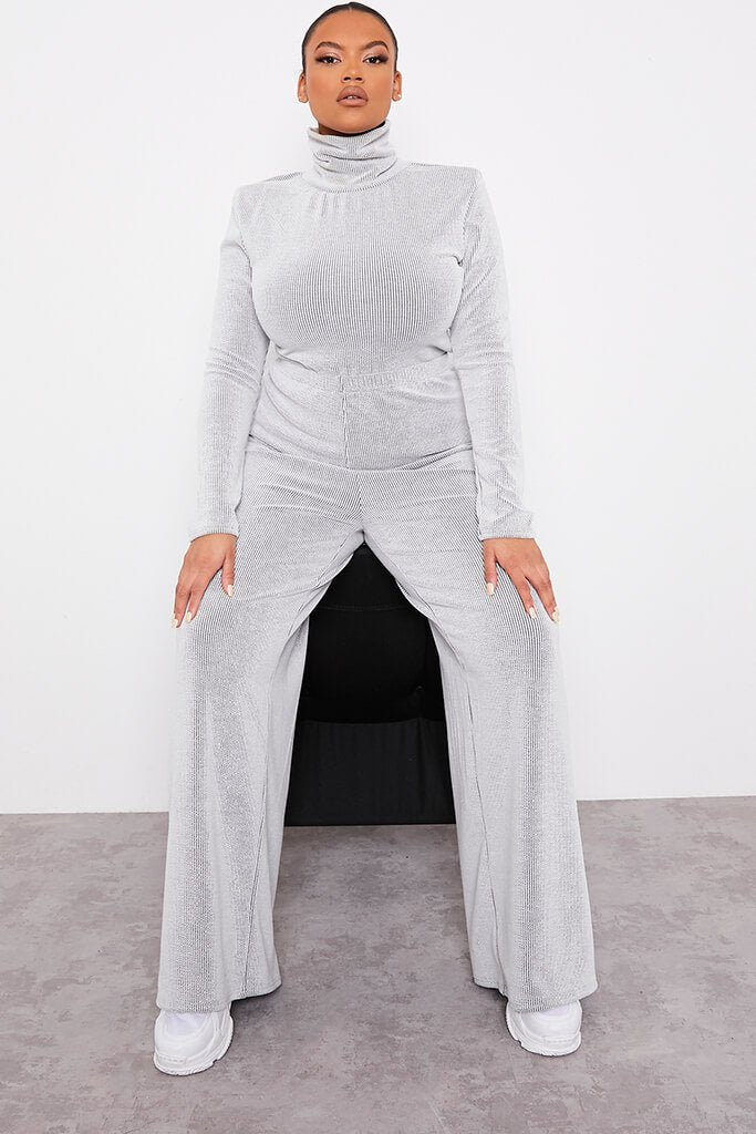 Monochrome Plus Size Contrast Ribbed Wide Leg Trousers