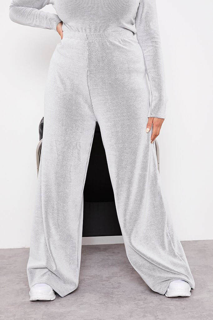 Monochrome Plus Size Contrast Ribbed Wide Leg Trousers view 2