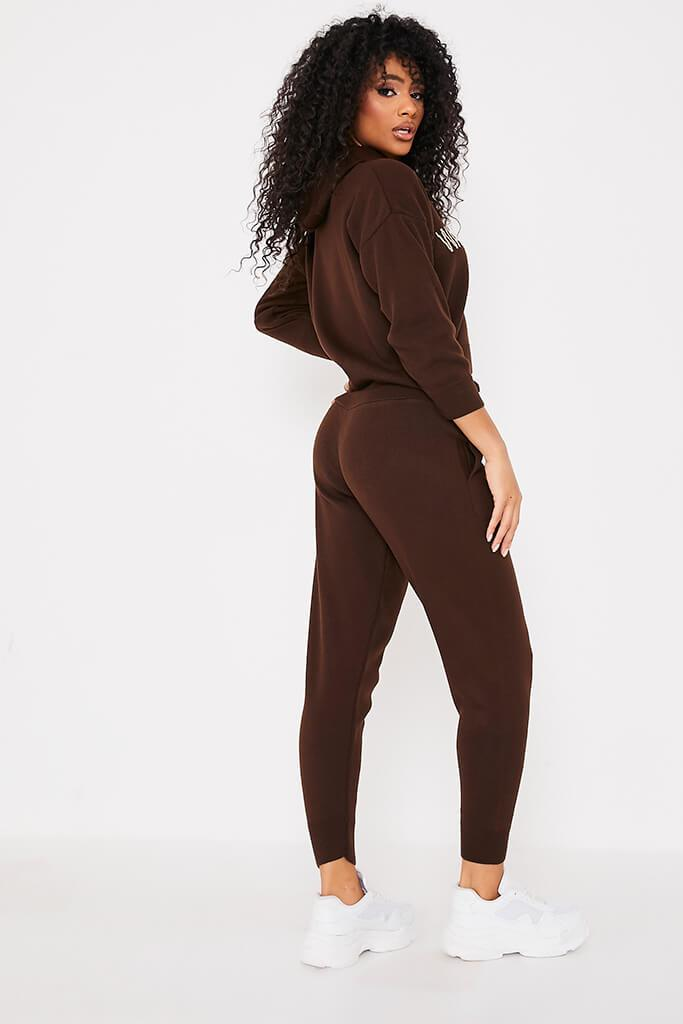 Chocolate Knitted Joggers view 4