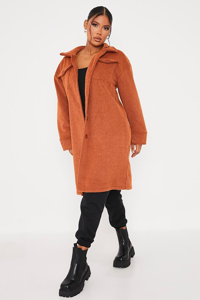 Rust Cosy Long Line Shacket view 2