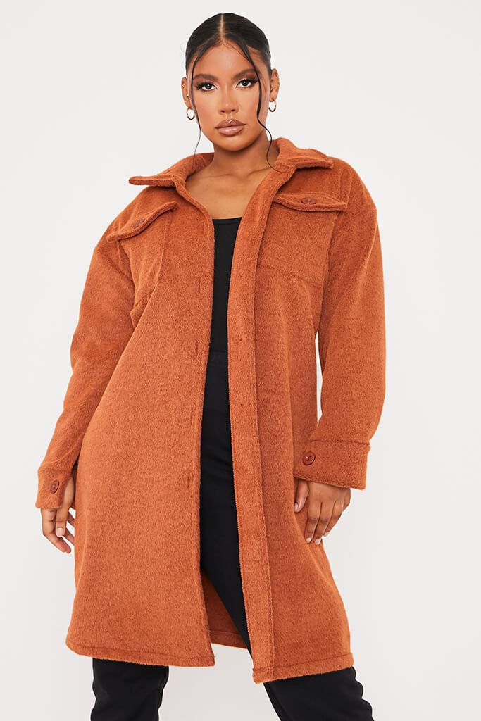 Rust Cosy Long Line Shacket