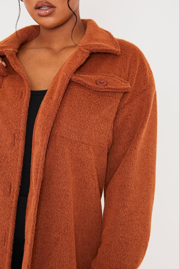 Rust Cosy Long Line Shacket view 5