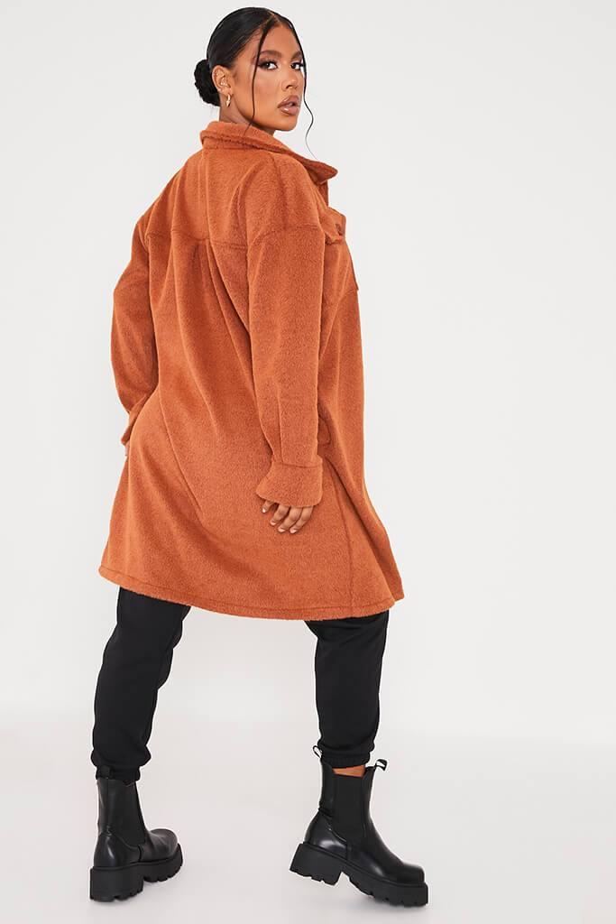 Rust Cosy Long Line Shacket view 4