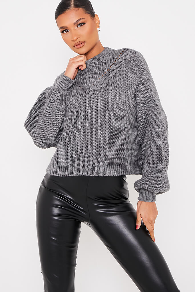 Charcoal Pointelle Detail Oversized Jumper