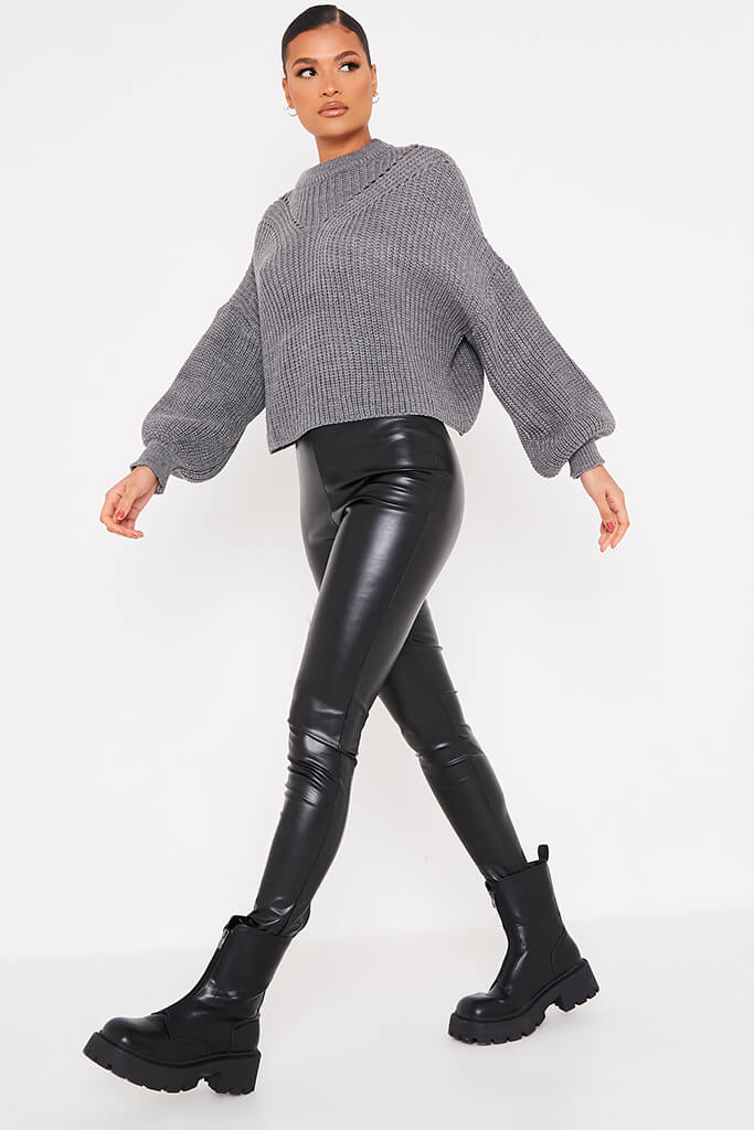 Charcoal Pointelle Detail Oversized Jumper view 3