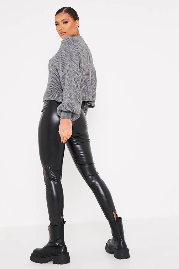 Charcoal Pointelle Detail Oversized Jumper view 4