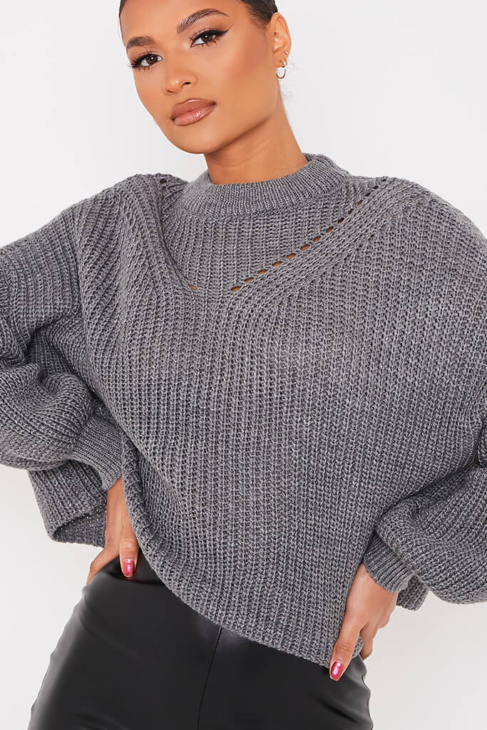 Charcoal Pointelle Detail Oversized Jumper view 5