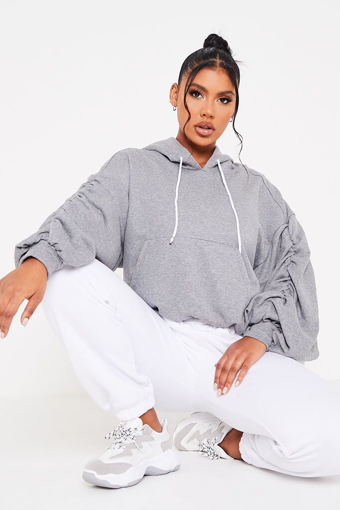 Grey Ruched Balloon Sleeve Hoodie view main view