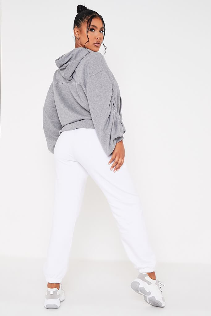 Grey Ruched Balloon Sleeve Hoodie view 4