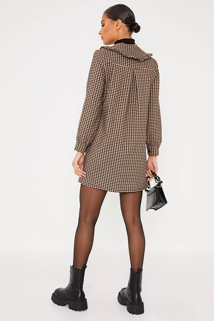 Camel Gingham Mini Dress With Frill Collar view 4