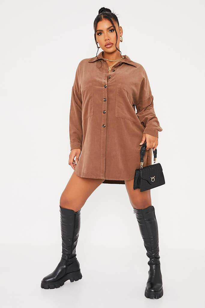Mocha Cord Shirt Dress view 2