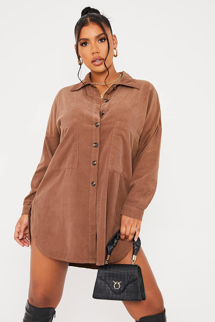 Mocha Cord Shirt Dress view main view