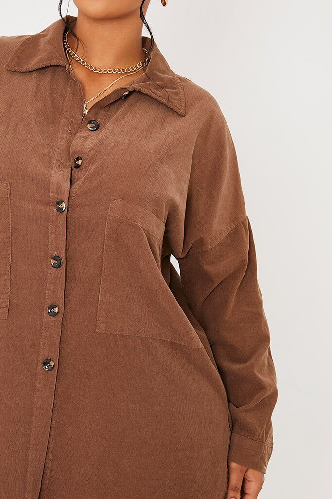 Mocha Cord Shirt Dress view 5