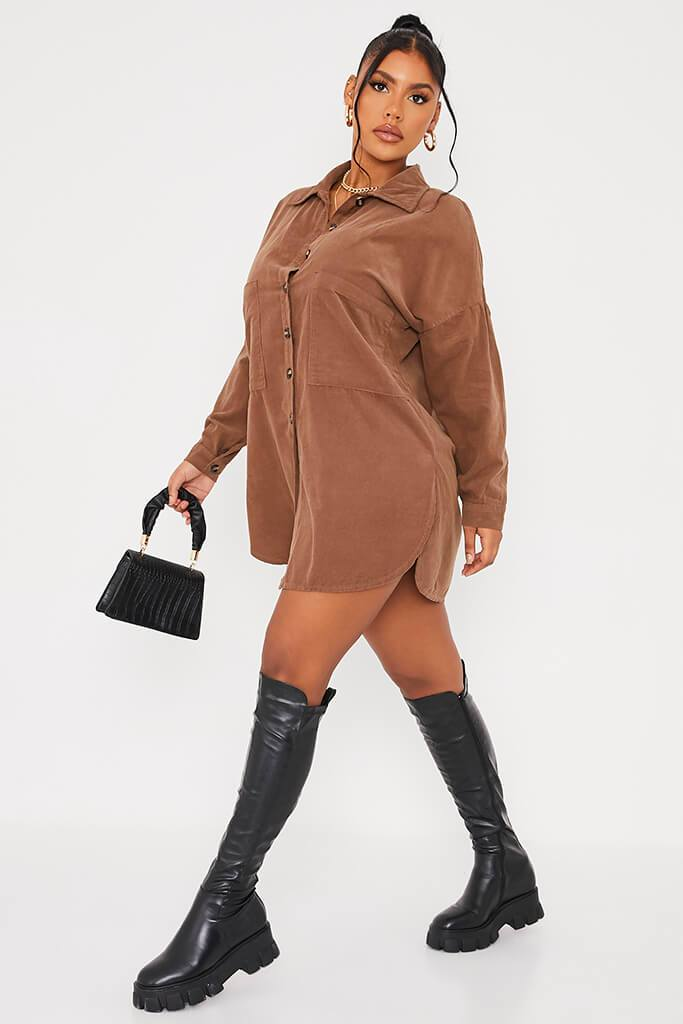 Mocha Cord Shirt Dress view 3