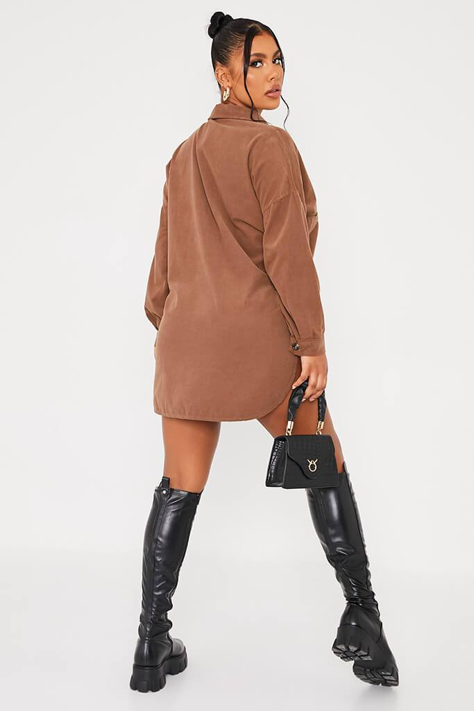 Mocha Cord Shirt Dress view 4