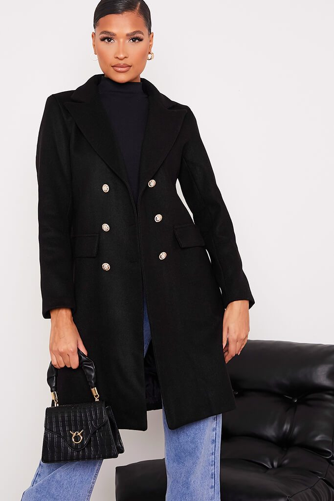Black Long Line Military Button Wool Coat view 2