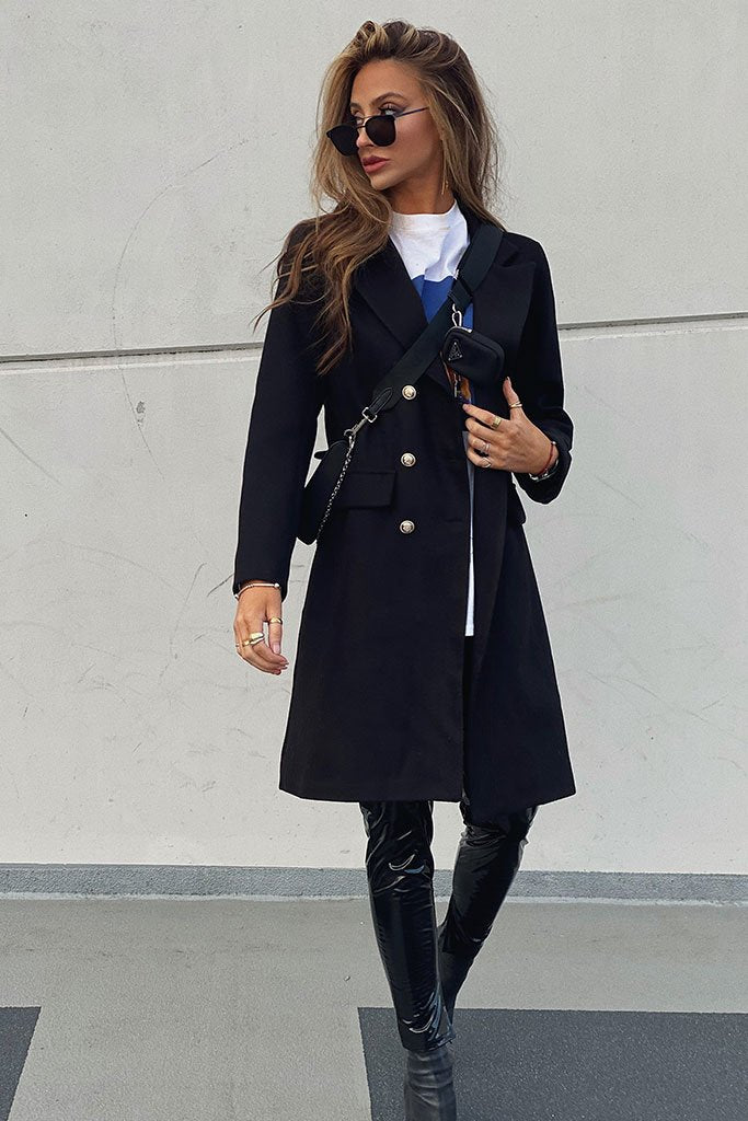 Black Long Line Military Button Wool Coat