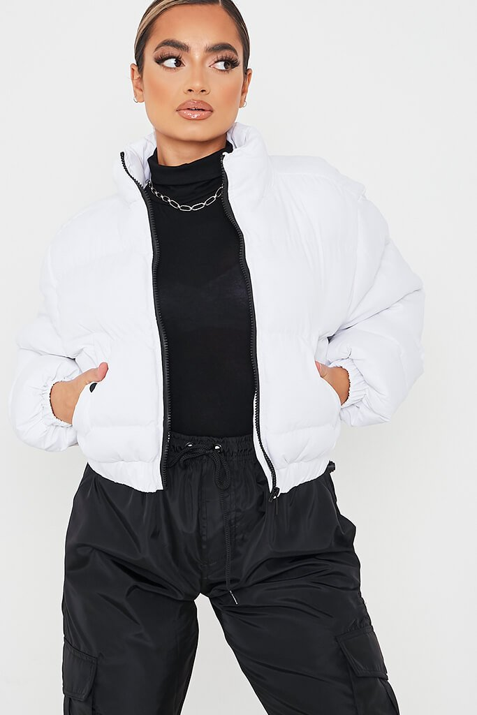 White Cropped Zip Front Padded Jacket