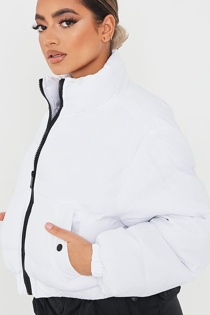 White Cropped Zip Front Padded Jacket view 5