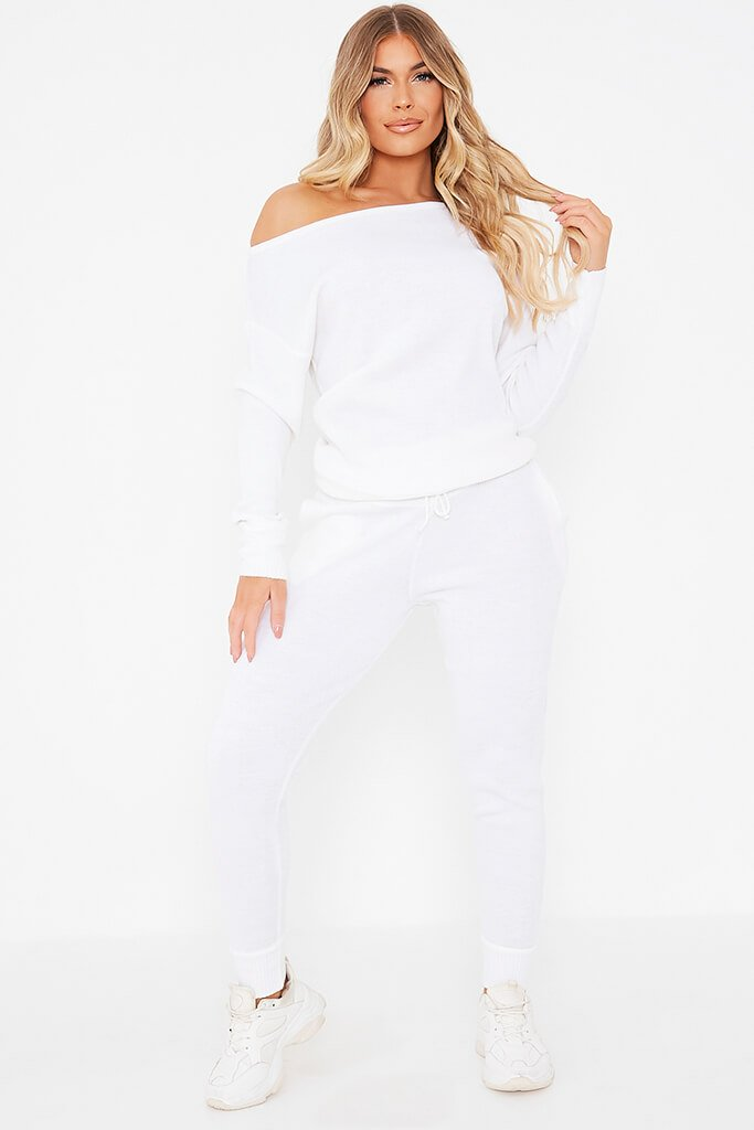 White Knitted Off The Shoulder Jumper And Jogger Set