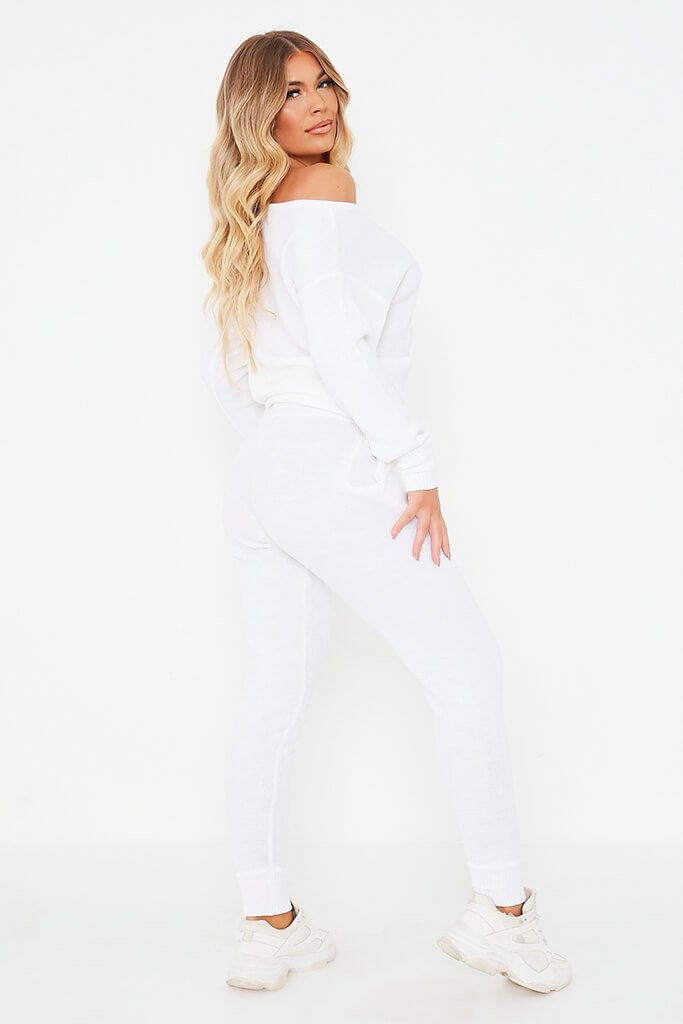 White Knitted Off The Shoulder Jumper And Jogger Set view 4