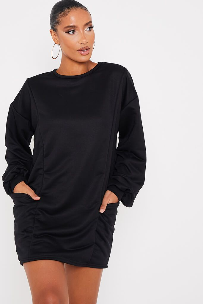 Black Pocket Sweater Dress