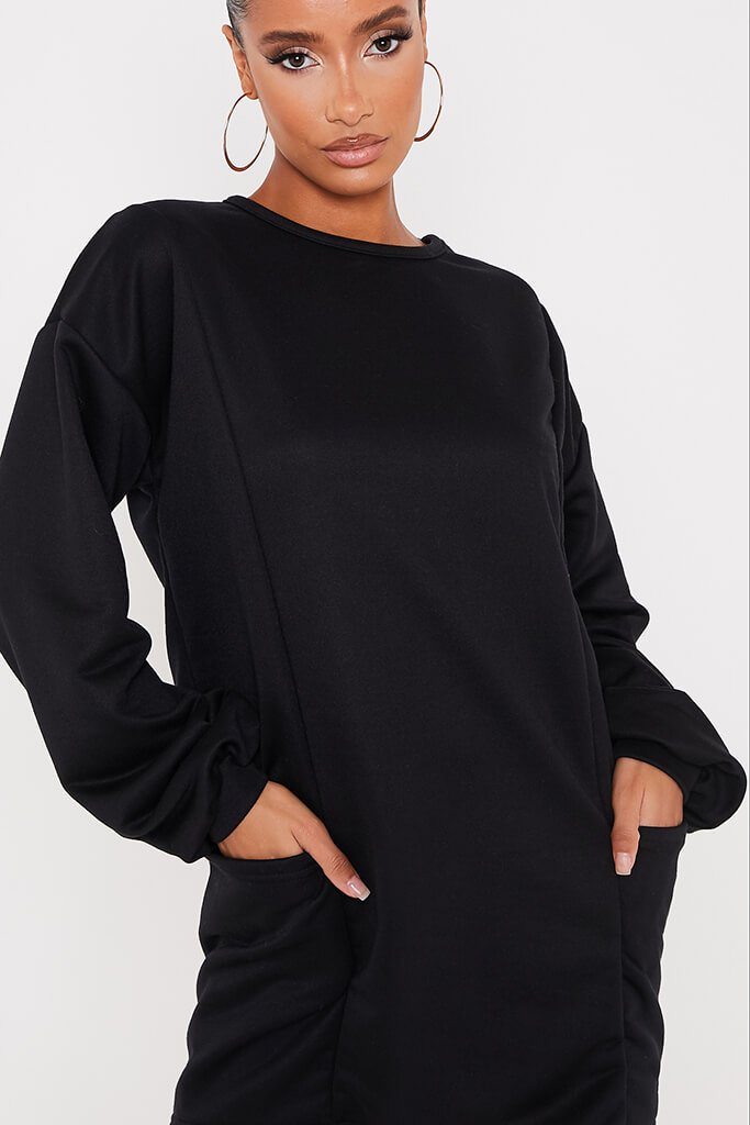 Black Pocket Sweater Dress view 5