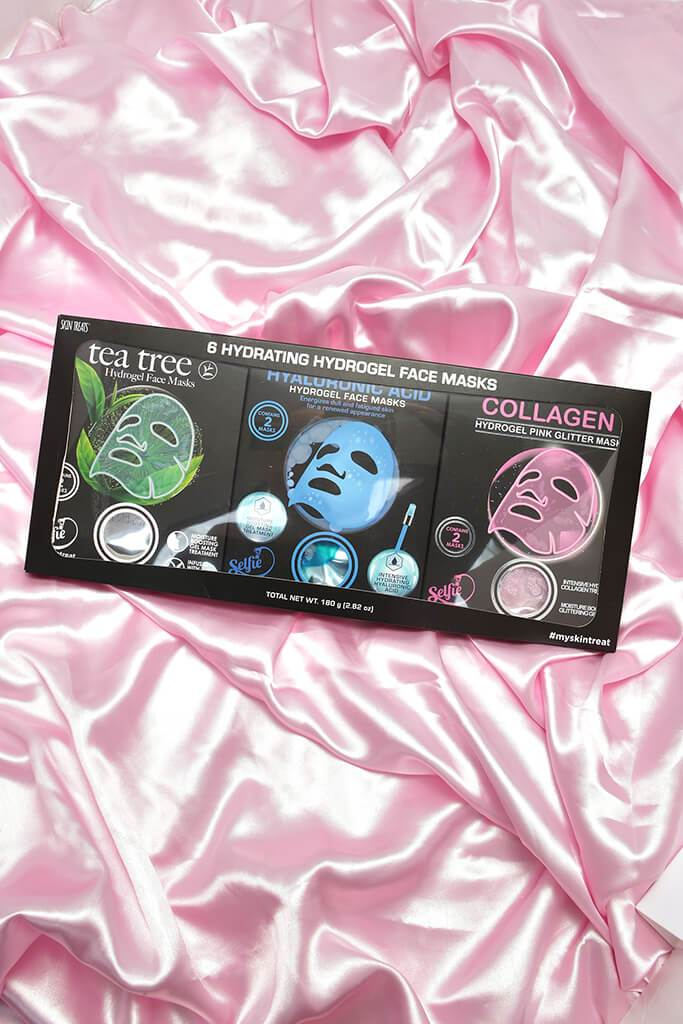 Black Hydrogel Face Masks 6 Pack view main view