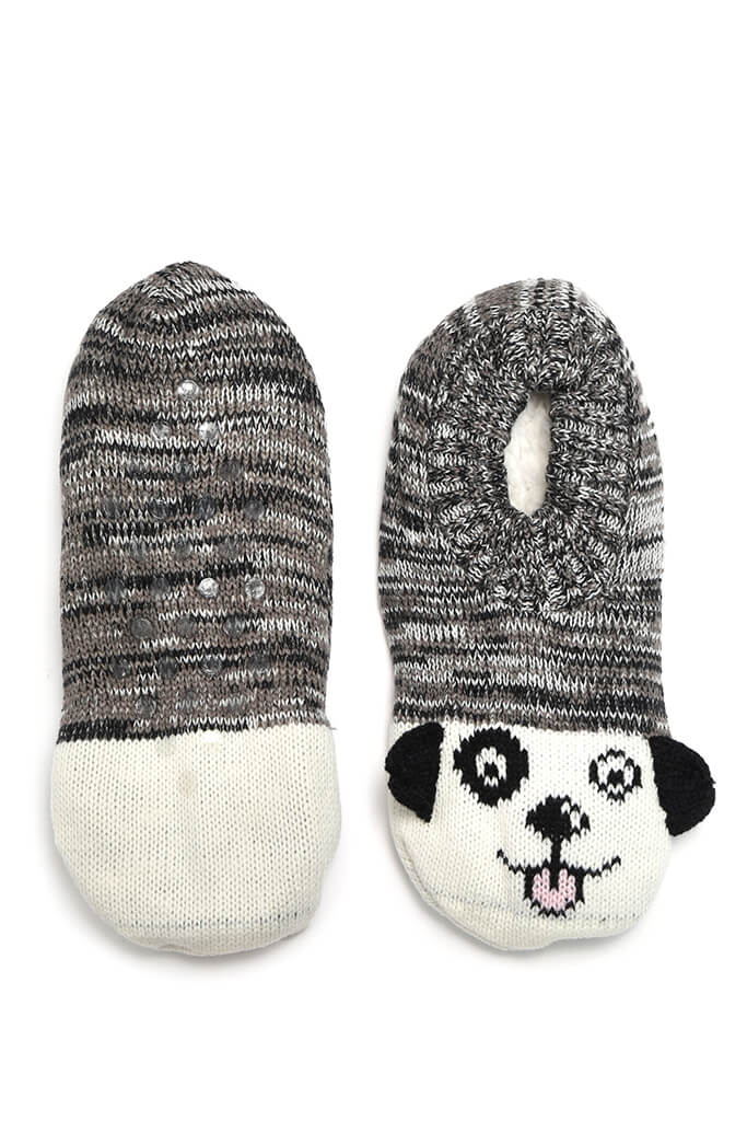 Grey Dog Slippers view 3