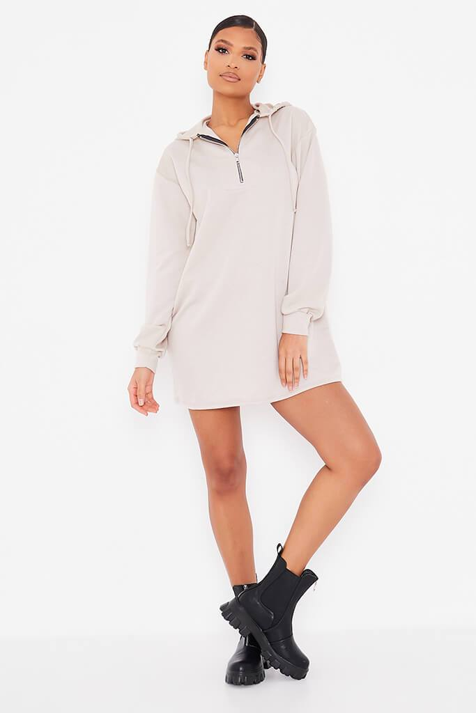 Oatmeal Sweat Half Zip Hooded Dress view 2