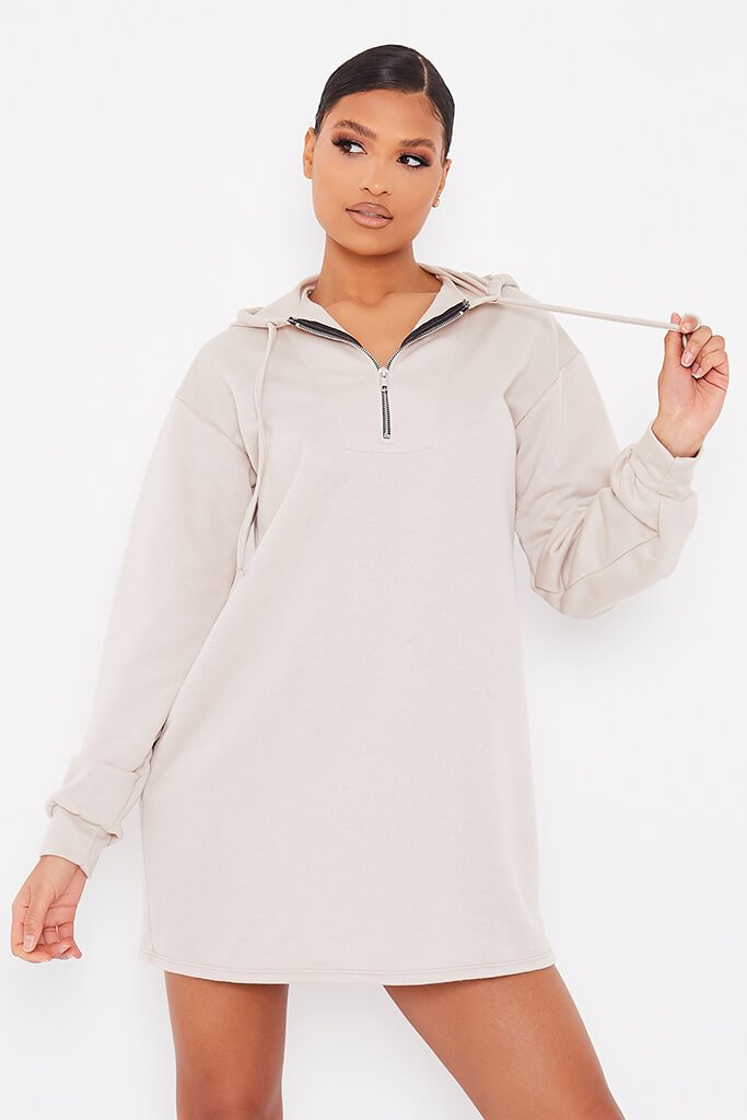 Oatmeal Sweat Half Zip Hooded Dress