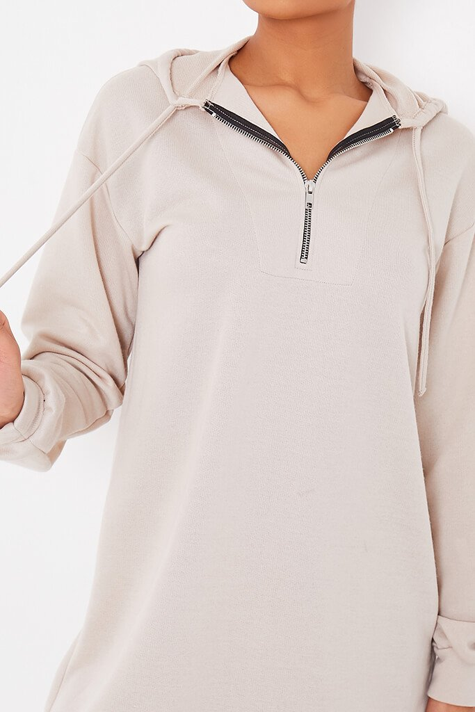 Oatmeal Sweat Half Zip Hooded Dress view 5