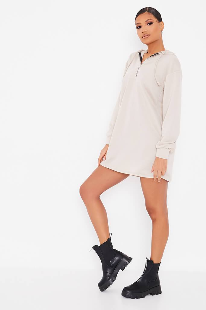 Oatmeal Sweat Half Zip Hooded Dress view 3