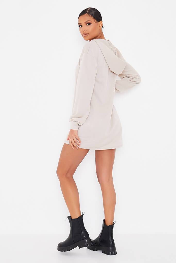 Oatmeal Sweat Half Zip Hooded Dress view 4