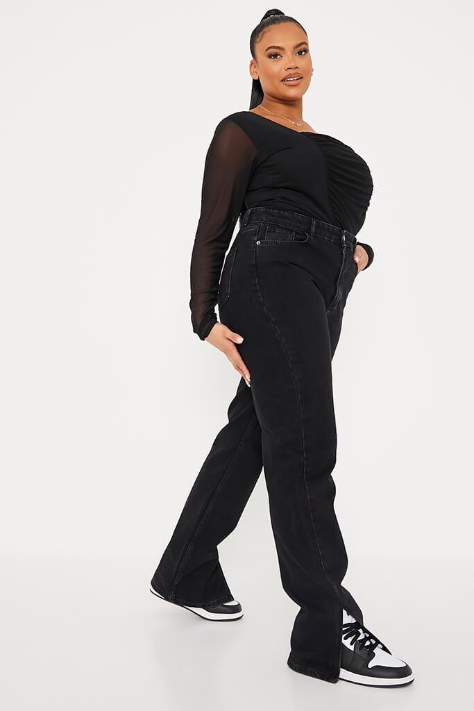 Black Plus Size Mesh Ruched Front Long Sleeve Bodysuit view 3