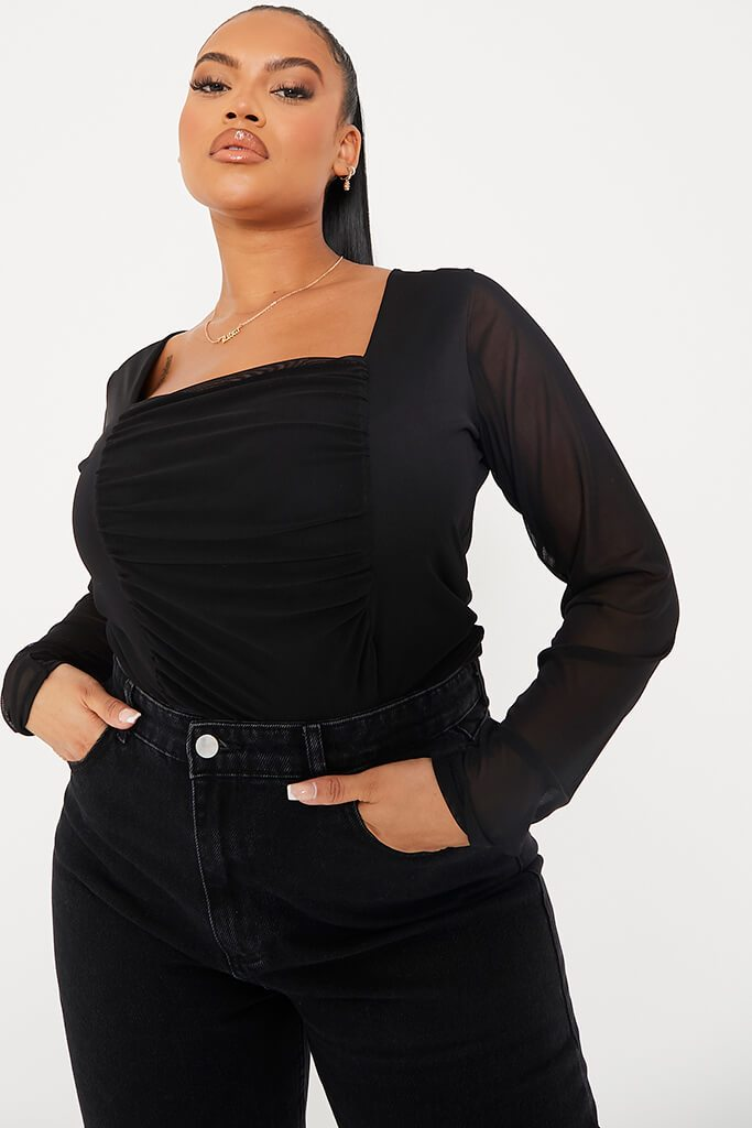 Black Plus Size Mesh Ruched Front Long Sleeve Bodysuit view 5