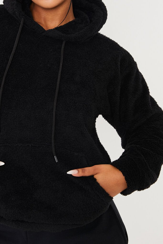 Black Oversized Borg Hoodie view 5