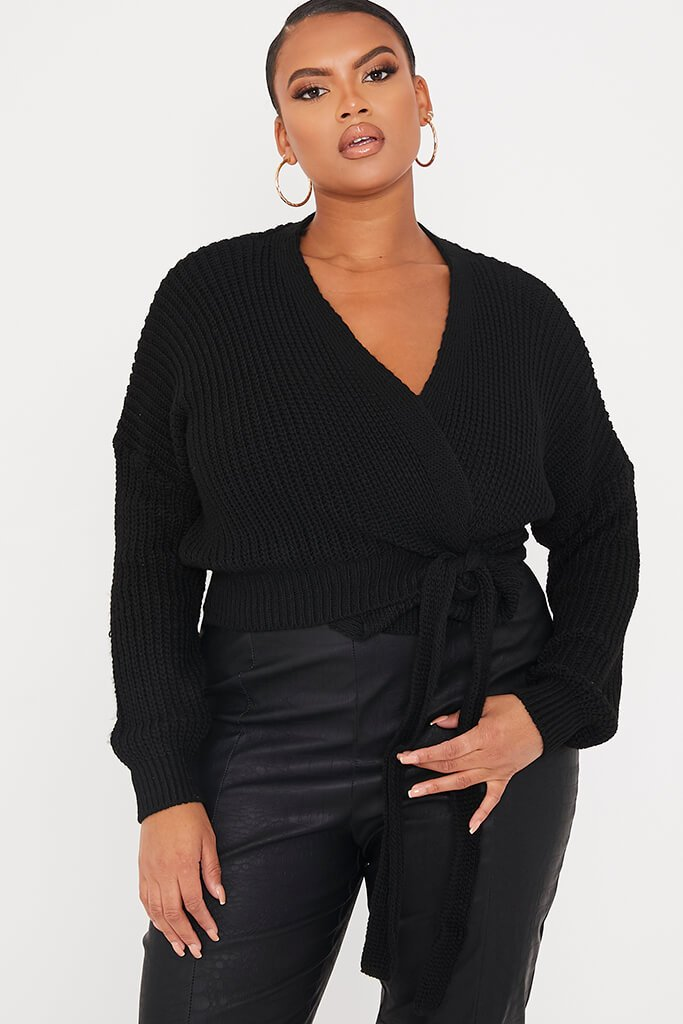 Black Plus Size Wrap Over Knitted Cardigan