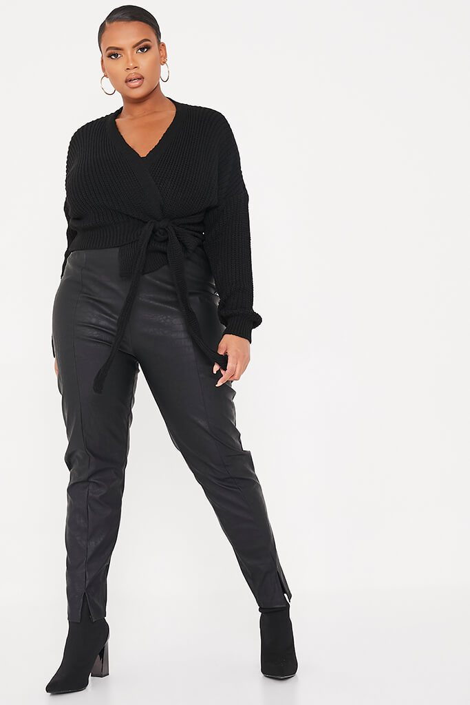 Black Plus Size Wrap Over Knitted Cardigan view 2