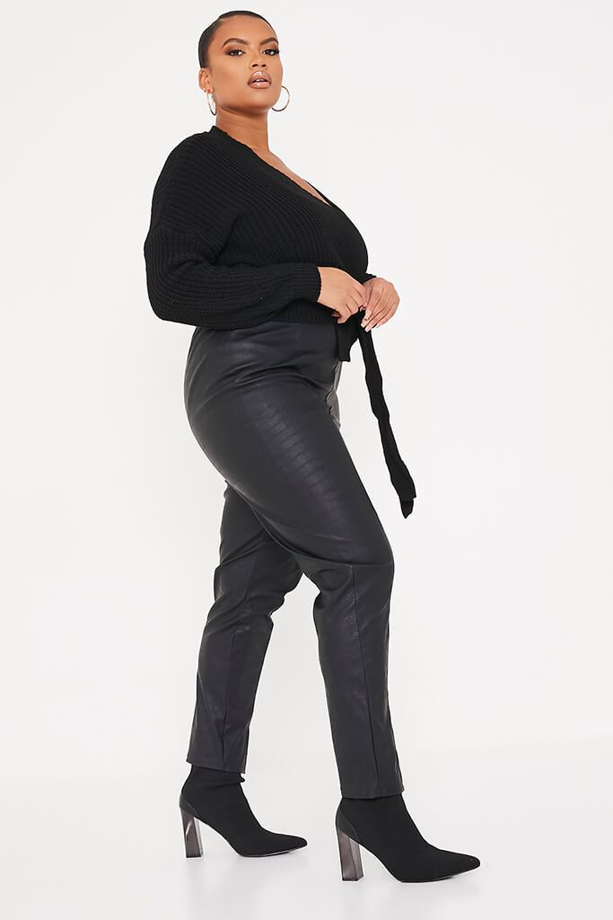 Black Plus Size Wrap Over Knitted Cardigan view 3