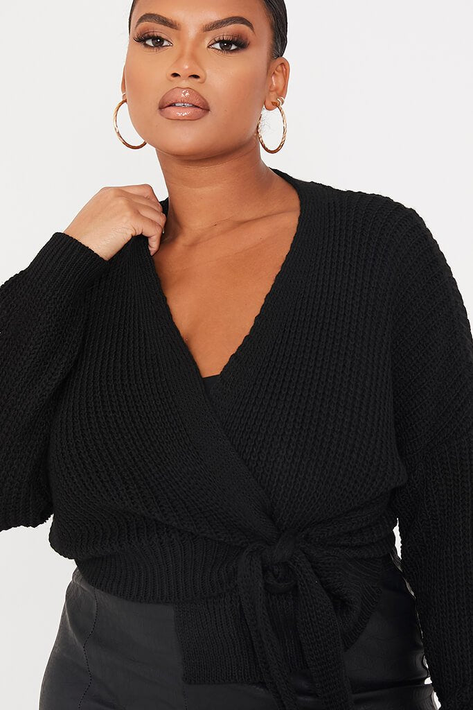 Black Plus Size Wrap Over Knitted Cardigan view 5