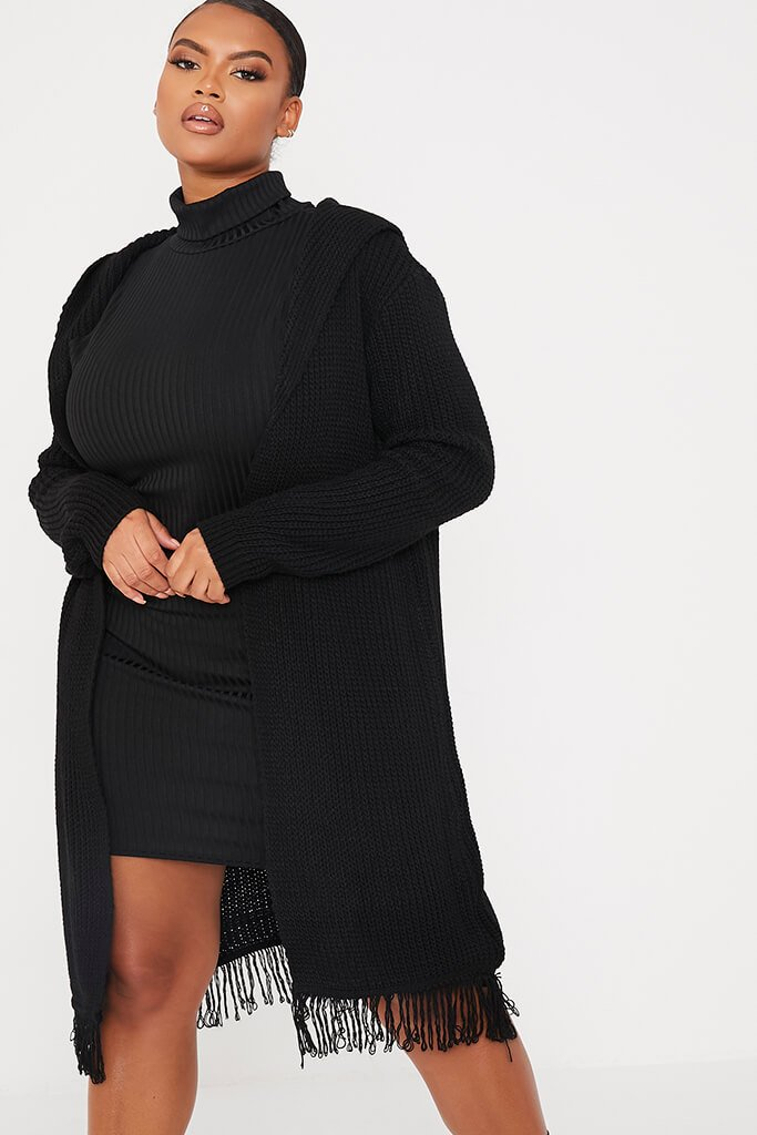 Black Plus Size Hooded Midi Length Cardigan With Fringe Hem view main view