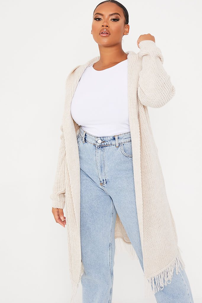 Stone Plus Size Hooded Midi Length Cardigan With Fringe Hem view main view